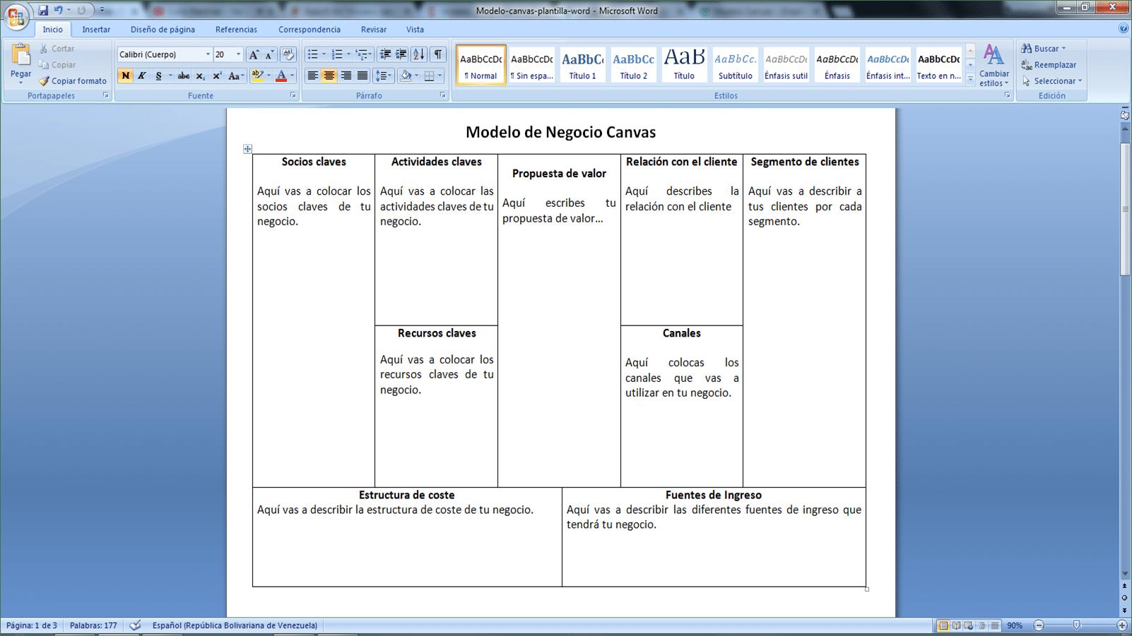 plantilla word del modelo canvas (sencilla)