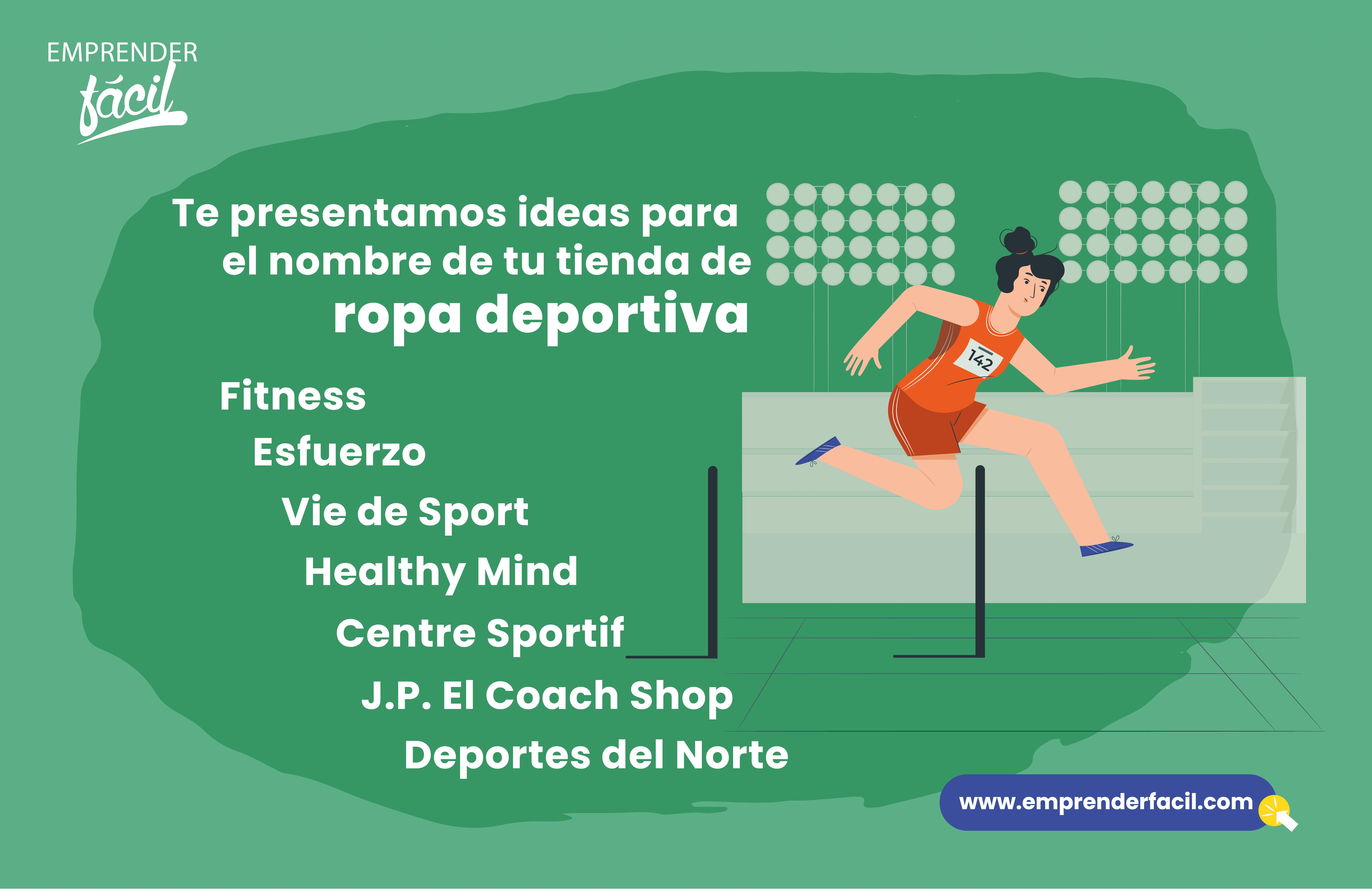 Ejemplos de nombres para tiendas de ropa deportiva.