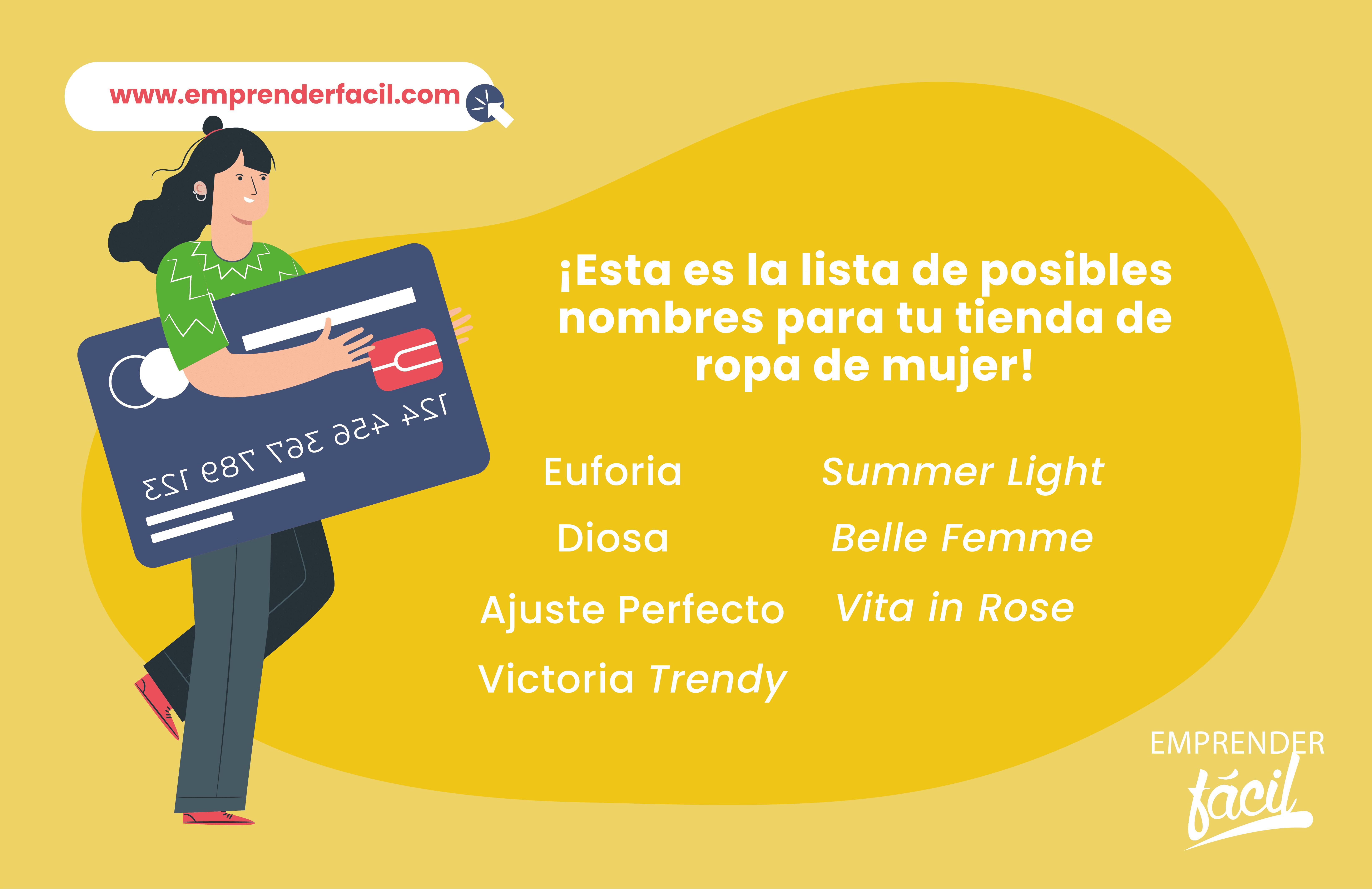Ejemplos de nombres para tienda de ropa de mujer.