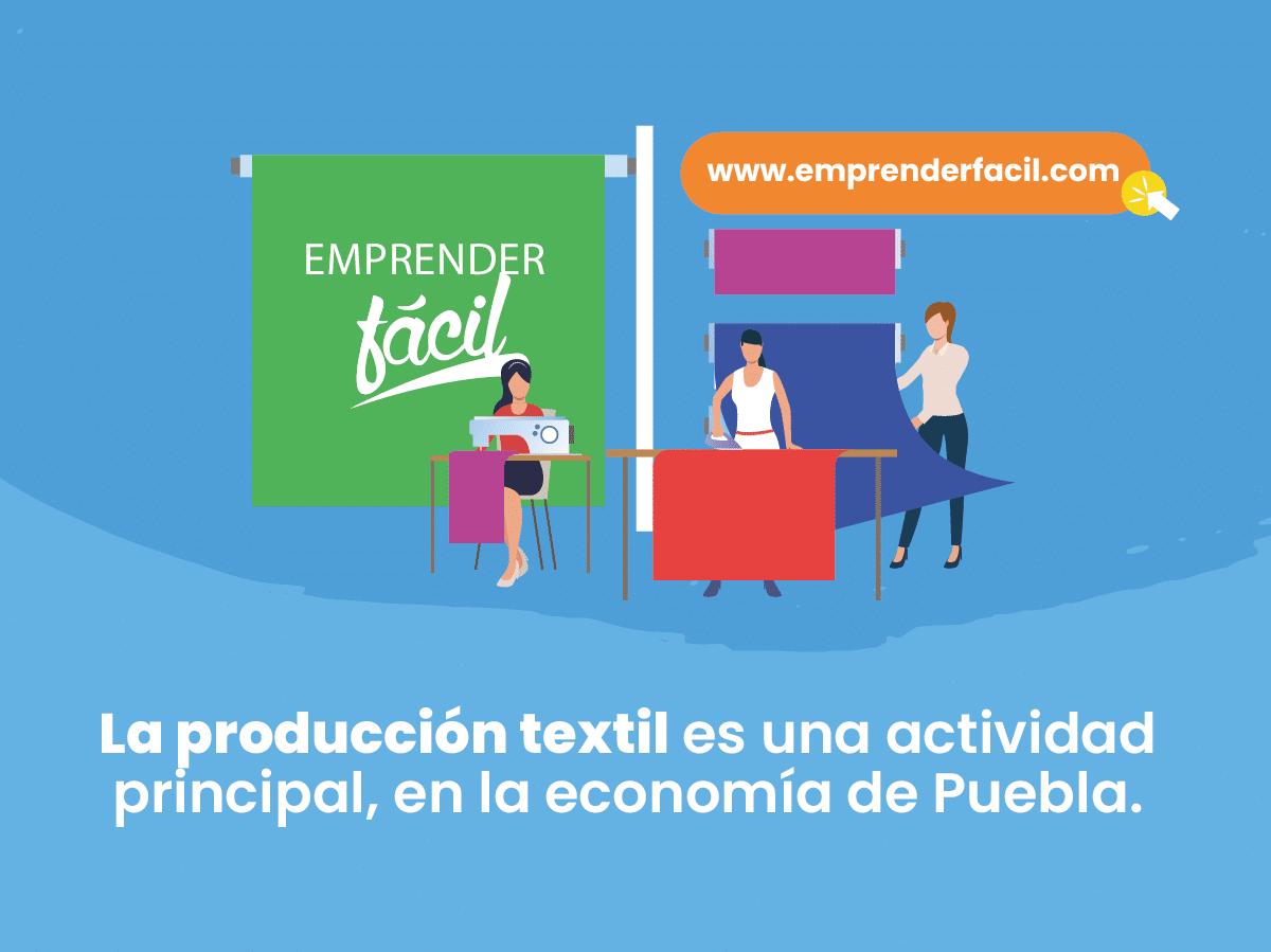 La producción textil es una actividad principal, en la economía de Puebla.