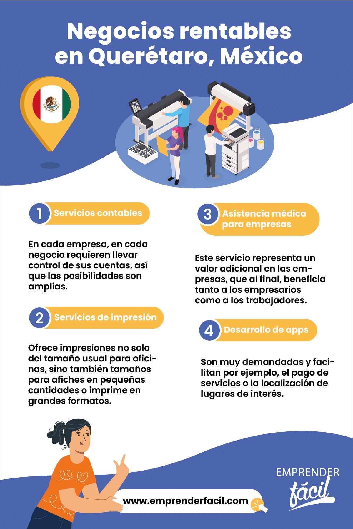 Ideas de negocios rentables en Querétaro, México.