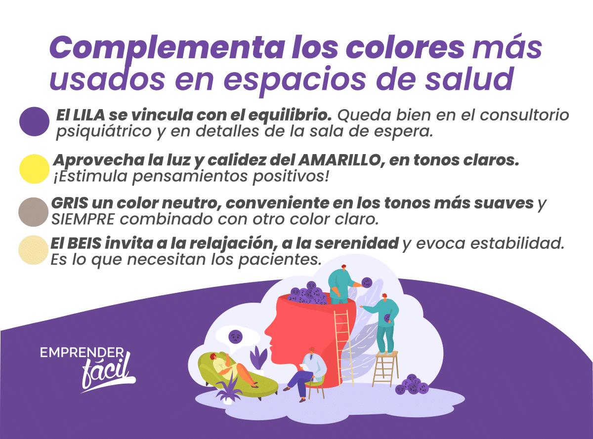 Complementa los colores más usados en espacios de salud