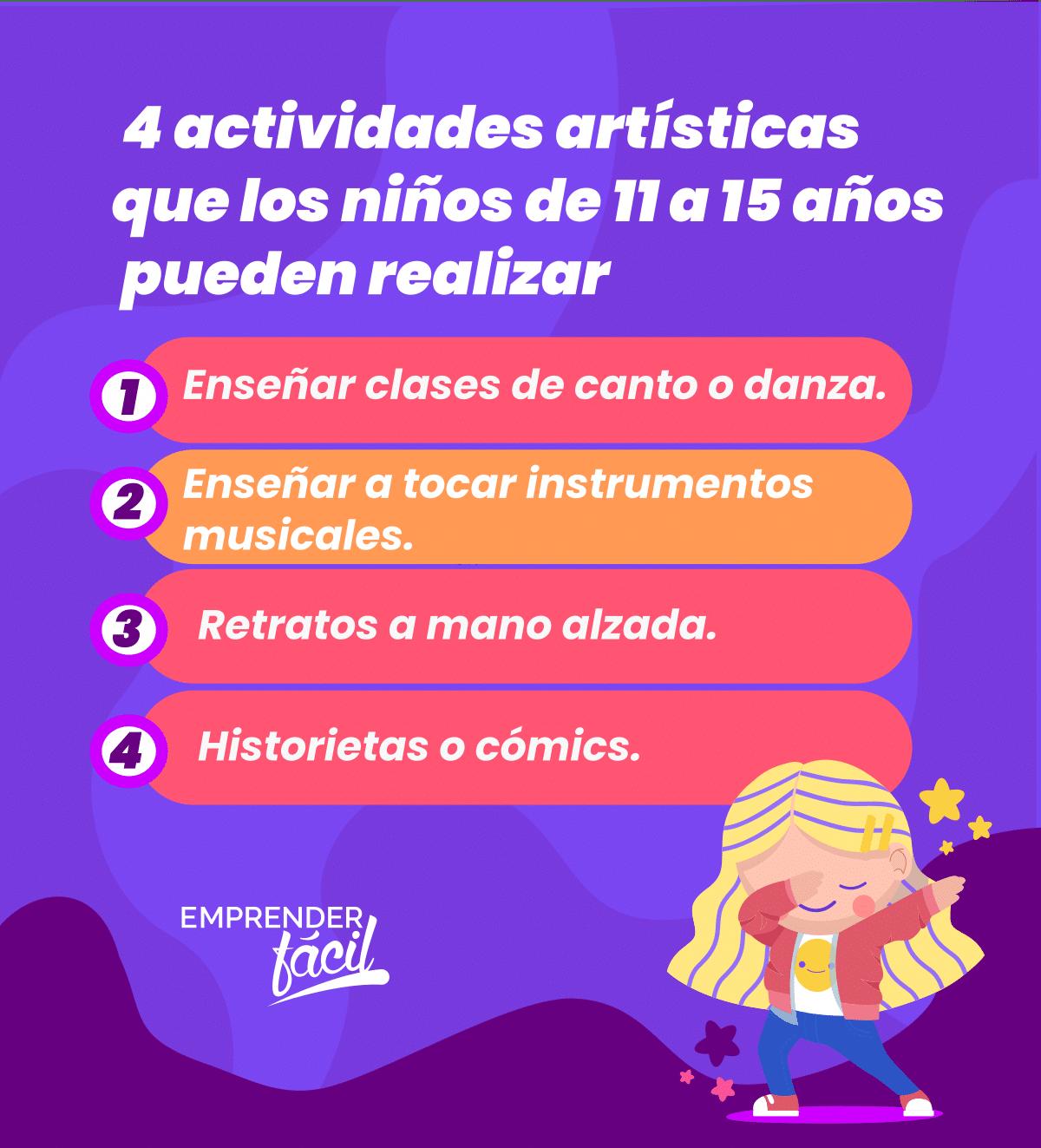 Arte como emprendimiento para niños de 11 a 15 años.