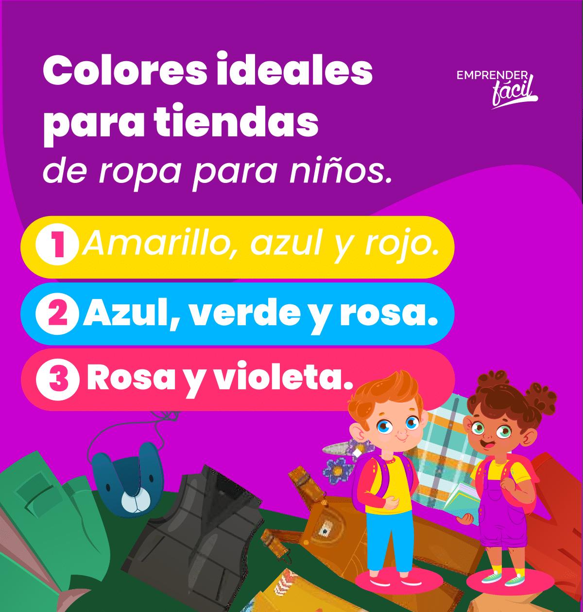 Colores para tiendas de ropa para niños.