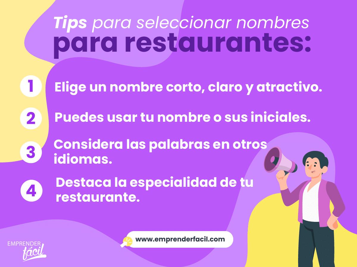 Tips para seleccionar nombres para restaurantes.