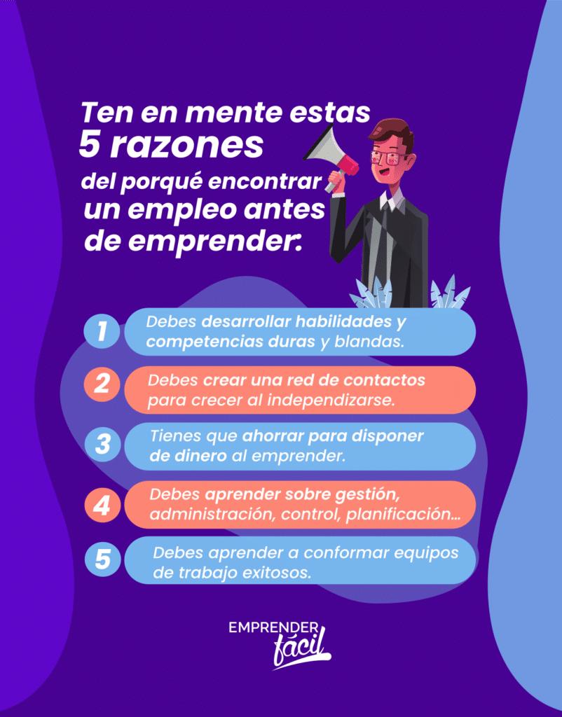 5 claves del porqué encontrar empleo antes de emprender