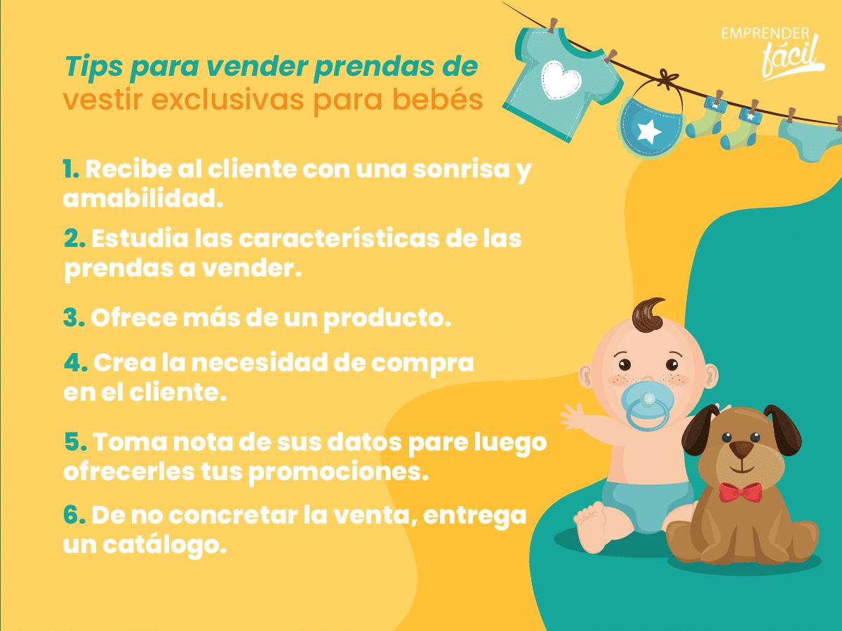 Tips para vender prendas de vestir exclusivas para bebés.